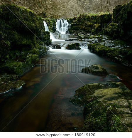 Rocks in front of the Waterfall at Sgwd Isaf Clun-Gwyn waterfall Brecon Beacons Wales
