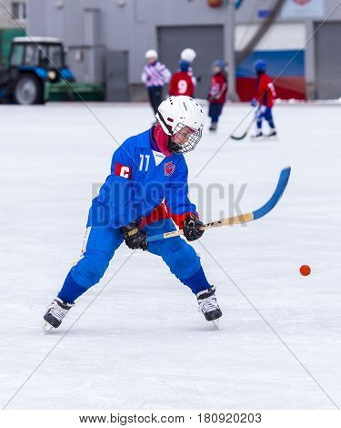 RUSSIA, OBUKHOVO- DECEMBER 26, 2015: 1-st stage of Children's hockey League bandy