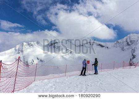 RUSSIA, SOCHI, GORKY GOROD - MARCH 29, 2017: Slopes of Gorky Gorod ski resort
