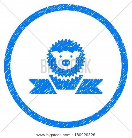 Pig Reward Ribbon grainy textured icon inside circle for overlay watermark stamps. Flat symbol with dust texture. Circled vector blue rubber seal stamp with grunge design.
