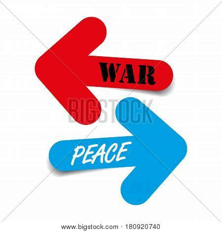 Peace and War, two color arrows with shadow, political situation