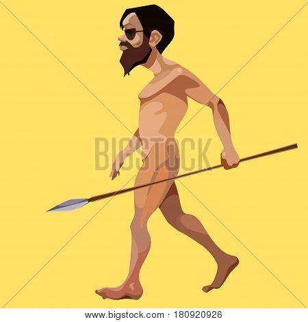 cartoon modern man stripped and took a javelin