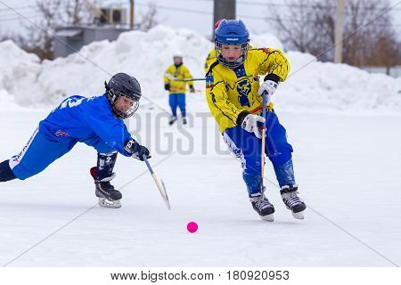 RUSSIA, OBUKHOVO- FEBRUARY 19, 2016: Third stage of Children's hockey League bandy