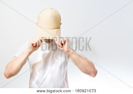 The Man, Guy In The Blank White, Beige Baseball Cap,  On A White Background, Mock Up, Free Space, Lo