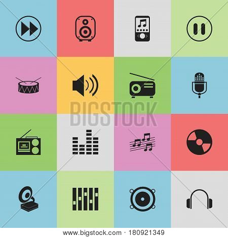 Set Of 16 Editable Music Icons. Includes Symbols Such As Media Fm, Rewind, Microphone And More. Can Be Used For Web, Mobile, UI And Infographic Design.