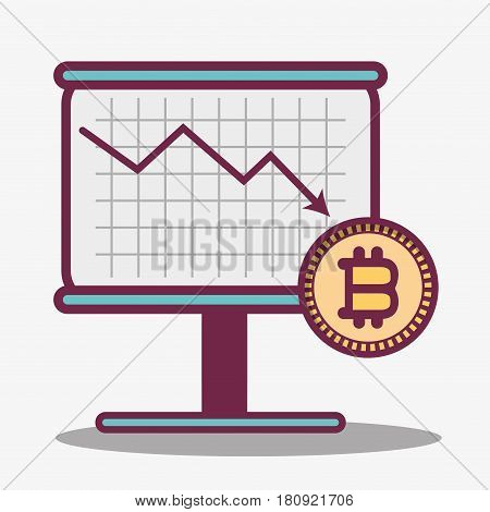 color cryptography icon bitcoin money currency, vector illustration