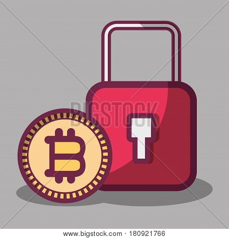 color padlock icon and bitcoin money currency, vector illustration