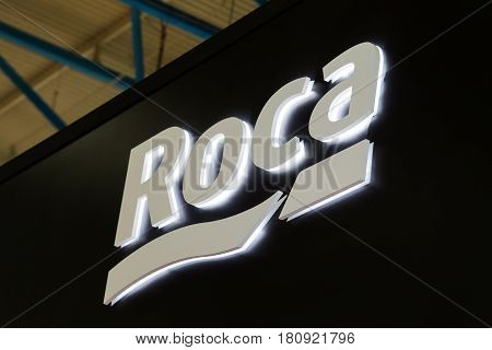 Moscow, Russia - April, 2017: Logo sign of Roca company. Roca is a Spanish producer of sanitary products