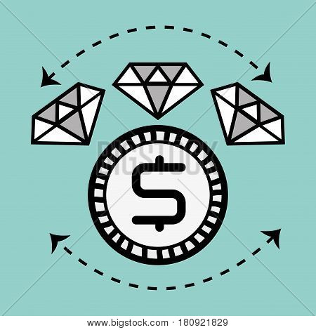 line diamond icon and bitcoin money currency, vector illustration