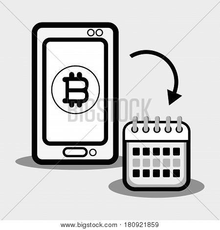 concept smartphone and calendar bitcoin money currency, vector illustration