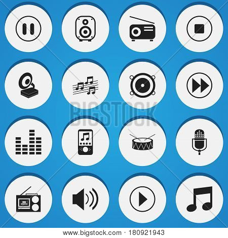Set Of 16 Editable Mp3 Icons. Includes Symbols Such As Break Music, Bar Wave, Snare And More. Can Be Used For Web, Mobile, UI And Infographic Design.