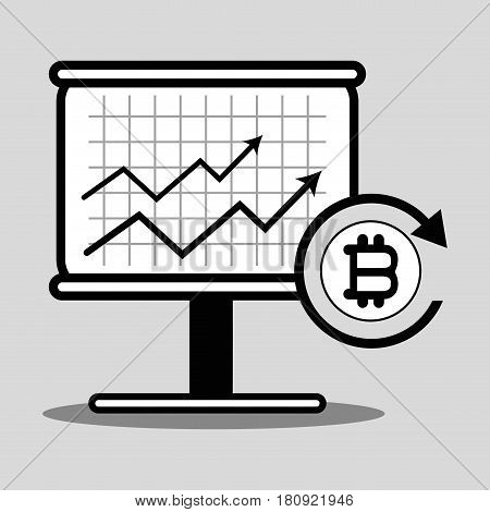 line cryptography icon bitcoin money currency, vector illustration