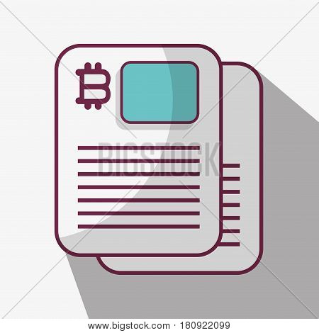 line icon document bitcoin money currency, vector illustration