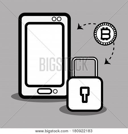 concept smartphone and padlock bitcoin money currency, vector illustration