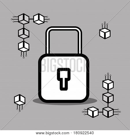 line padlock icon bitcoin money currency, vector illustration