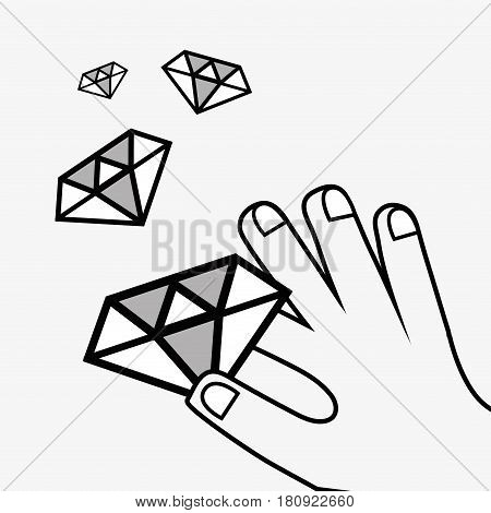 line icon hand and diamond bitcoin money currency, vector illustration