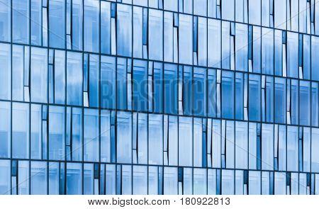 Modern Office Building Facade, Sky Reflections