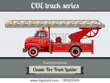 Classic Coe Fire Truck Ladder Side View