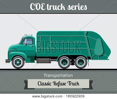Classic Coe Refuse Heavy Duty Truck Side View