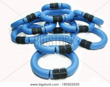collection of blue flexible hair rollers set