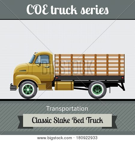 Classic Coe Stake Bed Truck Side View