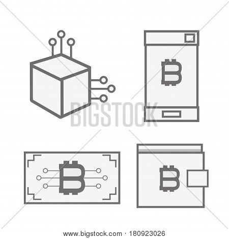 line set icon bitcoin money currency, vector illustration