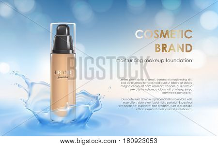 Vector 3D cosmetic illustration for the promotion of moisturizing foundation premium product. Colorstay make-up in glass bottle on a light blue background with a water splash