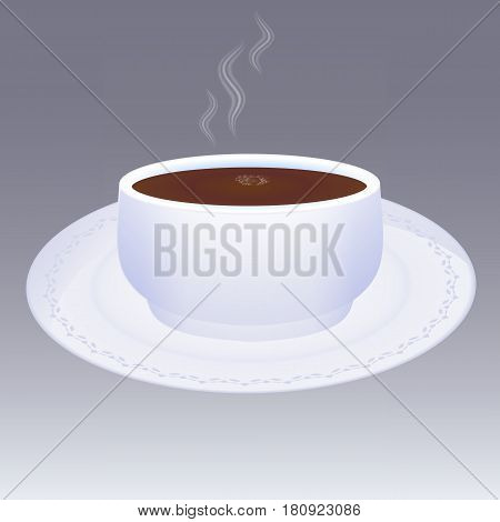 Vector illustration of hot tea in a mug with a saucer