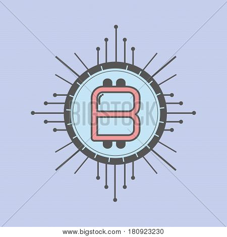 color icon bitcoin money currency, vector illustration