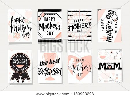 Vector illustration of card set for happy mothers day holiday greeting with lettering typography text phrase I love you, you are the best mom, ribbon reward, emotion people silhouette