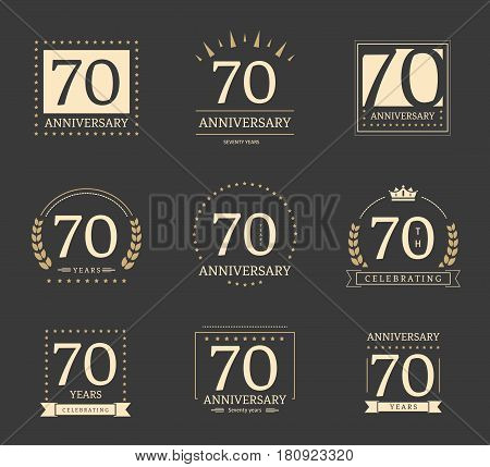70th anniversary logotypes and badges collection. Vector illustration.