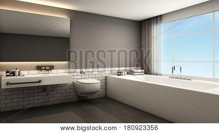 Bathroom design modern & Loft - 3D render