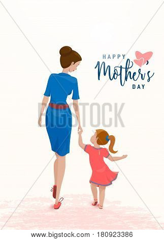 Vector illustration of emotion people character. Mother holds her daughter by the hand with love isolated on light background in flat style. Holiday greeting text happy mother day