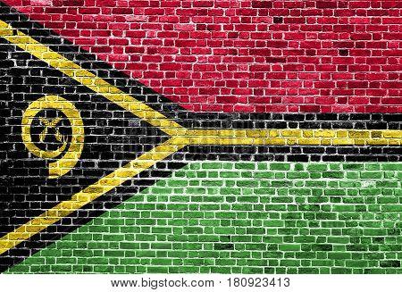 Flag of Vanuatu painted on brick wall, background texture
