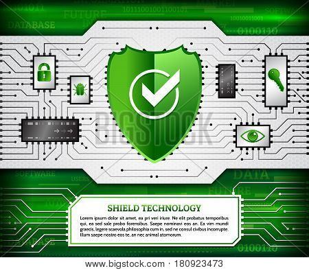 Digital technology concept of background with shield hacker bug padlock key and eye. Circuit board background. Hi-tech electronic wires. Abstract information security. Modern safety digital background.