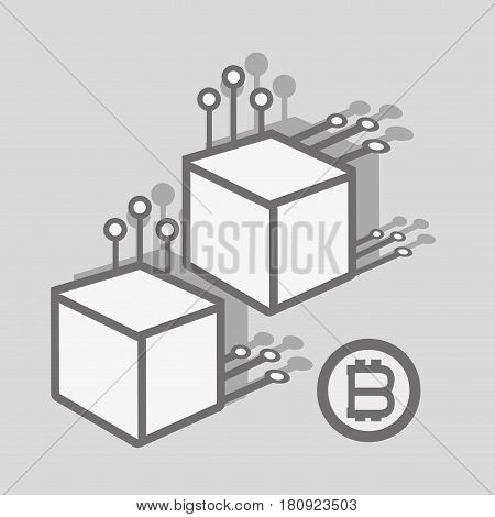 line icon circuit connetion bitcoin money currency, vector illustration