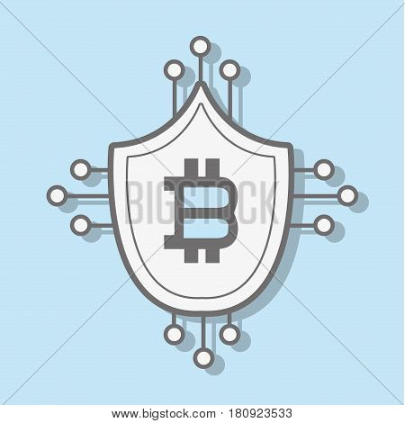 line icon circuit shield bitcoin money currency, vector illustration