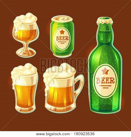 Set of vector isolated cartoon illustrations of various containers for bottling and storing beer - beer glasses of various shapes, glass bottle, aluminum can