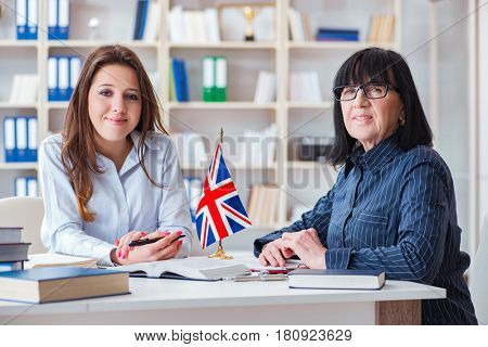 Young foreign student during english language lesson