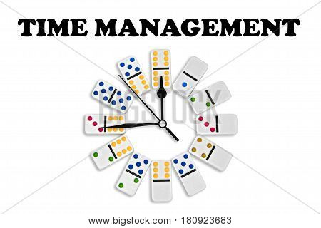 Time Management Business Strategy Dominoes Clock Isolated On White