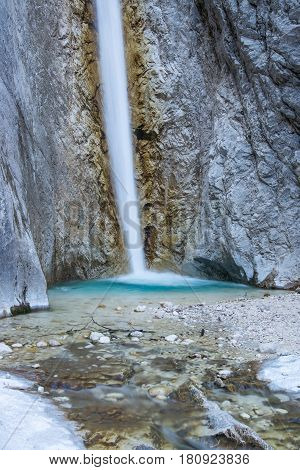 Scenic Martuljek waterfall in Julian Alps, Slovenia