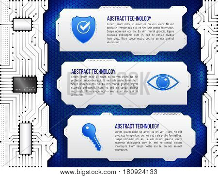 Abstract futuristic circuit background. High computer technology concept with shield eye and key. Internet security data. Computer system privacy.