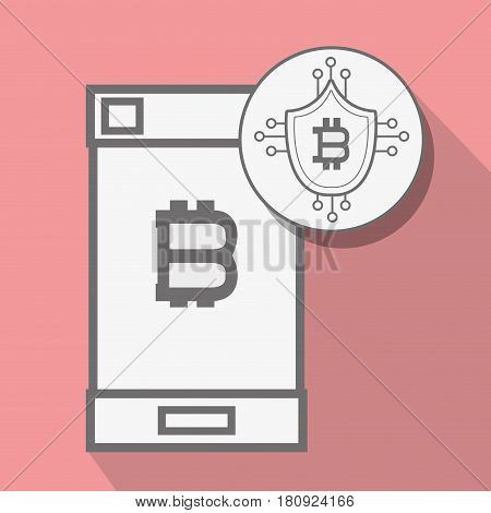 concept smartphone and circuit shield bitcoin money currency, vector illustration