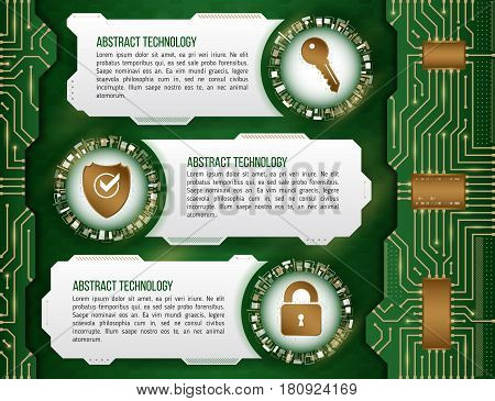 Abstract futuristic circuit background. High computer technology concept with key shield and padlock. Internet security data. Computer system privacy.