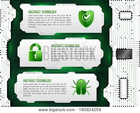 Abstract futuristic circuit background. High computer technology concept with shield padlock and hacker bug. Internet security data. Computer system privacy.