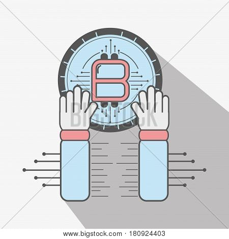 color concept hand and bitcoin money currency, vector illustration