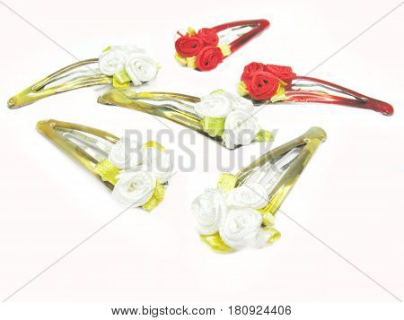 decorative red and white flowers hairpins for making hair couffure
