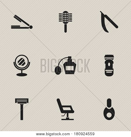 Set Of 9 Editable Coiffeur Icons. Includes Symbols Such As Charger, Scent, Blade And More. Can Be Used For Web, Mobile, UI And Infographic Design.