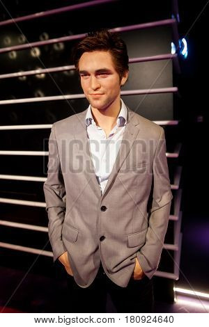 Amsterdam, Netherlands - March, 2017: Wax figure of Robert Pattinson in Madame Tussauds Wax museum in Amsterdam, Netherlands