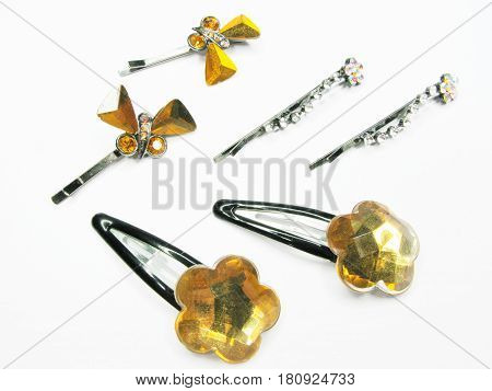 set of decorative pins for hair coiffure making